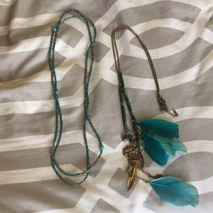2 Long turqouise boho indie necklace bundle